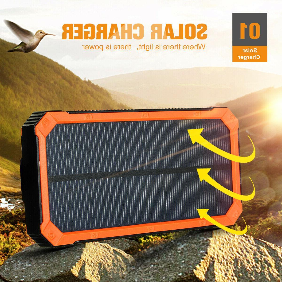 500000mAh Solar Charger Power Bank Portable Dual USB Battery US