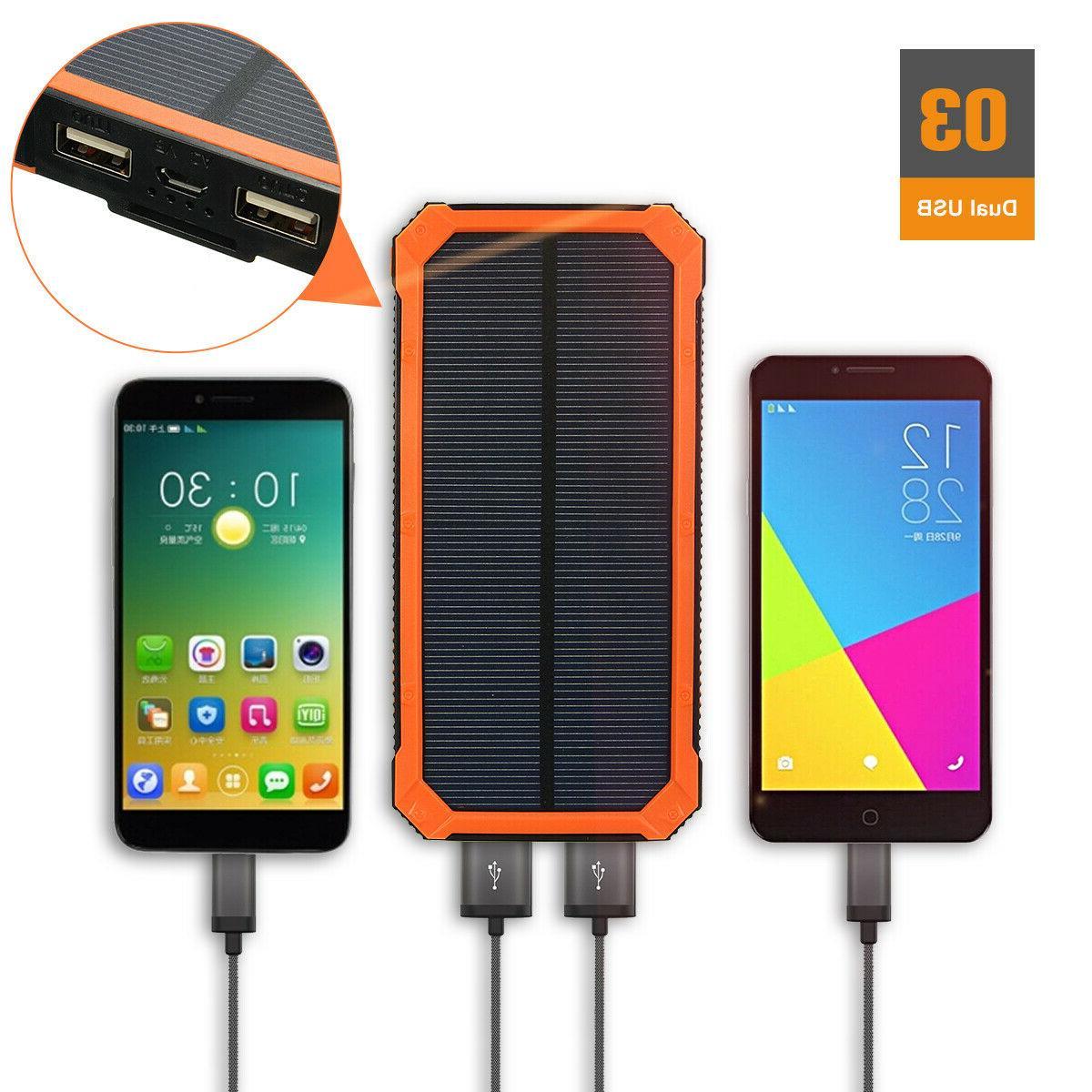 500000mAh Waterproof Solar Charger Power USB Battery *