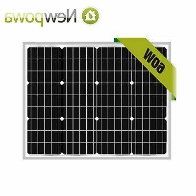NewPowa 60W Watt 12V Mono Solar Panel Module RV BOAT OFF GRI