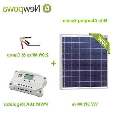 Newpowa 50W Watt 12V Solar Panel +PWM 10A Charge Controller+