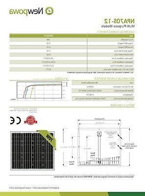 Newpowa Solar Panel 12v Battery Charging