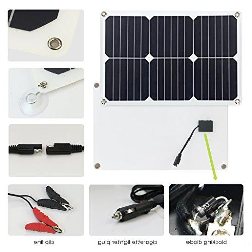 ALLPOWERS 18V 12V 18W Solar Car Boat Power Panel Charger Maintainer Motorcycle Boat
