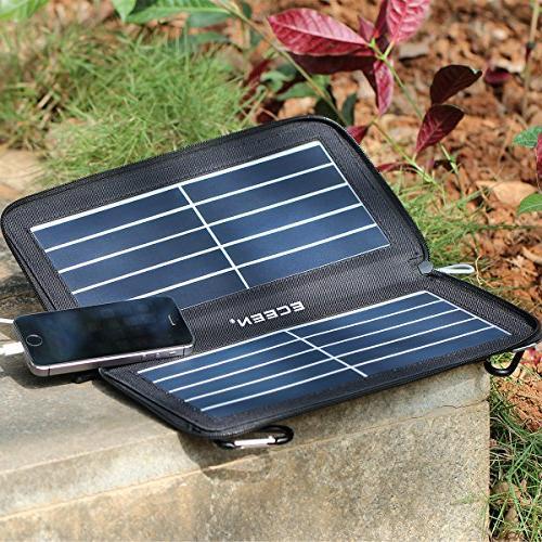 ECEEN Solar Phone USB Port,Zipper for iPhone, iPad, iPods, Samsung, Smartphones Gopro 5V