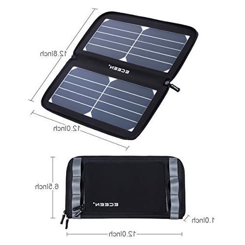 ECEEN Solar Panel Phone Charger Port,Zipper iPad, iPods, Smartphones 5V