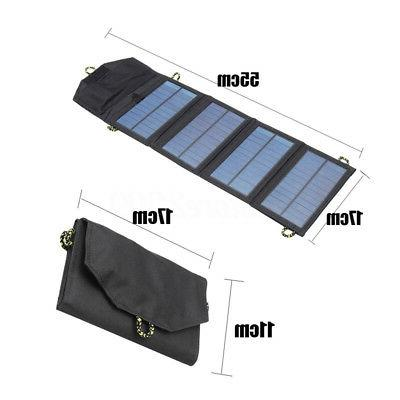 Foldable 7W Solar Phone Charger For Hiking Camping Outdoor