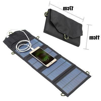 Foldable 7W USB Port Solar Panel Phone Charger For Hiking Ca