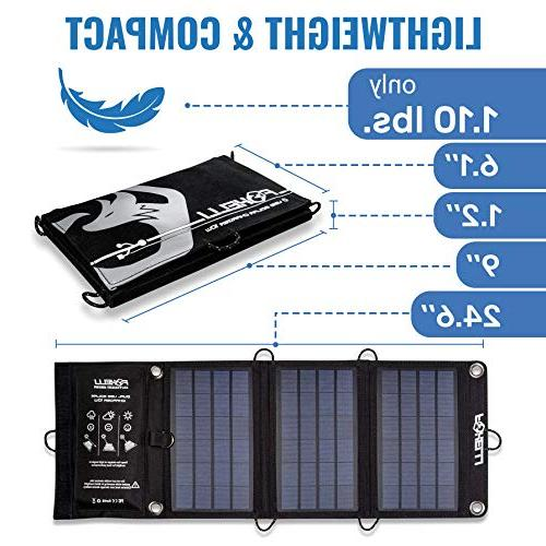 Foxelli Dual Solar Charger 10W - Foldable Solar Phone Charger for 7, Android, Galaxy S7, S6, S5, Edge & More, Charger & Outdoors