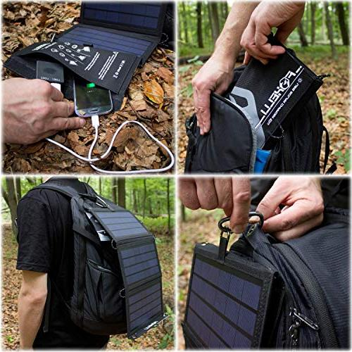 Foxelli Solar Charger 10W - Foldable Solar Panel for 8, 7, Android, Galaxy S6, S5, Edge & More, Portable Charger Camping & Outdoors