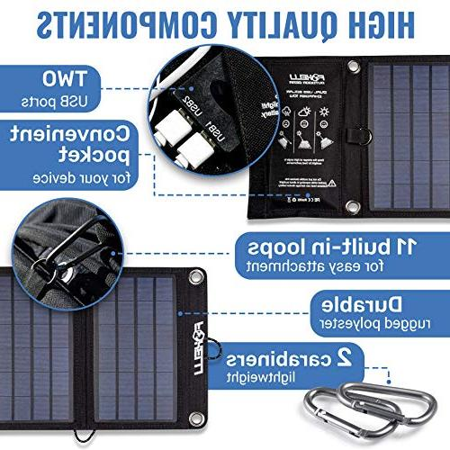 Foxelli Dual USB Solar Solar Panel for iPhone Android, Galaxy S6, More, Portable Power Charger for &