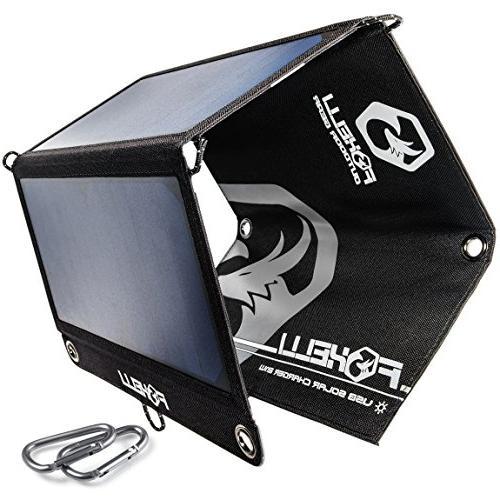 Foxelli Dual USB Solar Charger 21W - Foldable Solar Panel Ph