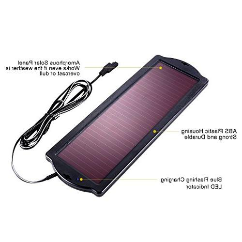 POWOXI Solar Battery Trickle Charger 12v 1.8W Kit Maintainer Cigarette Plug Amorphous for Rv Boat Vehicle
