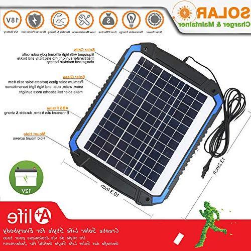 SUNER 12V Car Battery Maintainer Solar Panel Trickle Kit for Boat, Marine, RV, Powersports, Snowmobile,