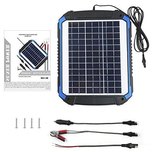 SUNER 12V Solar Car Battery Maintainer - Portable Solar Panel Trickle Charging Kit for Boat, Marine, RV, Trailer, Powersports,