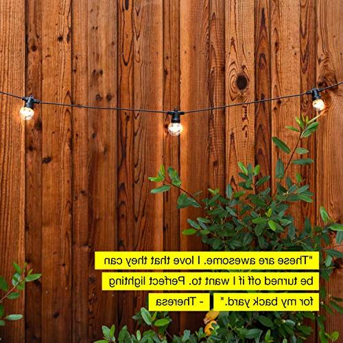 Brightech Ambience Waterproof String Lights Hanging 1W Bulbs 27 Globe Ambience Pergola