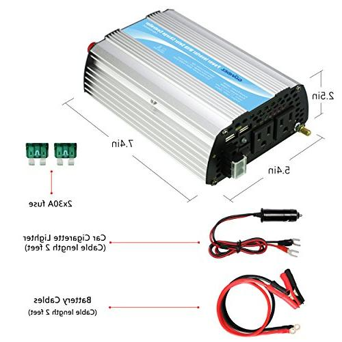 Giandel 600W Car Inverter DC to AC 110V 2 outlets Dual USB Ports