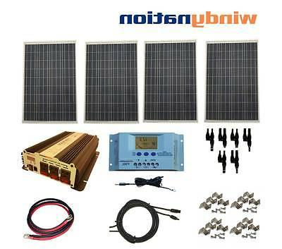 COMPLETE KIT 400 W Watt 400W Solar Panel + 1500W Inverter 12