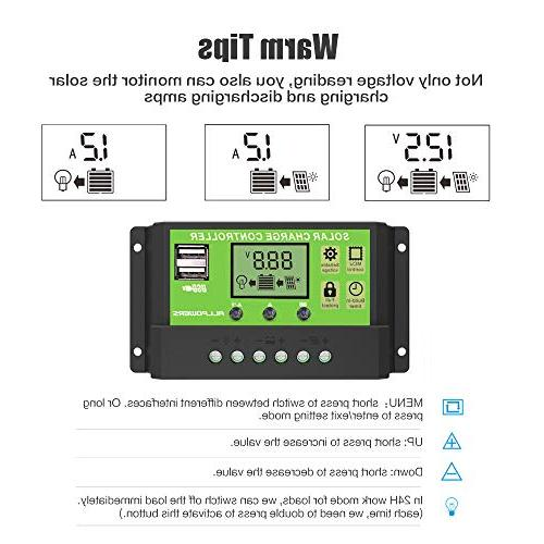 ALLPOWERS Dual USB Solar Controller 12V/24V Auto with Timer Setting ON/Off Hours