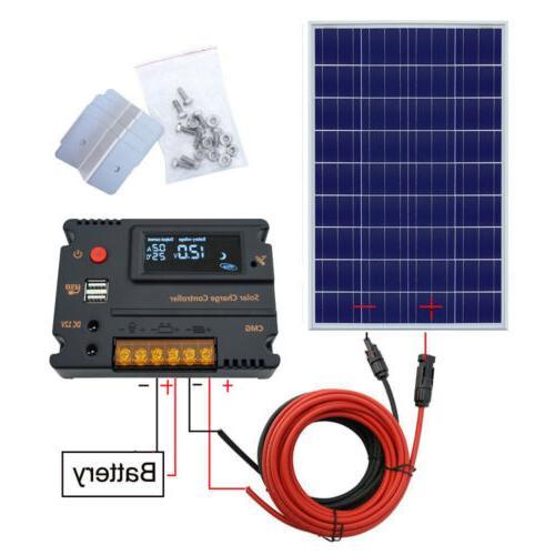 ECO 100W Poly Solar Panel Starter Kit Home 12V Battery Charg
