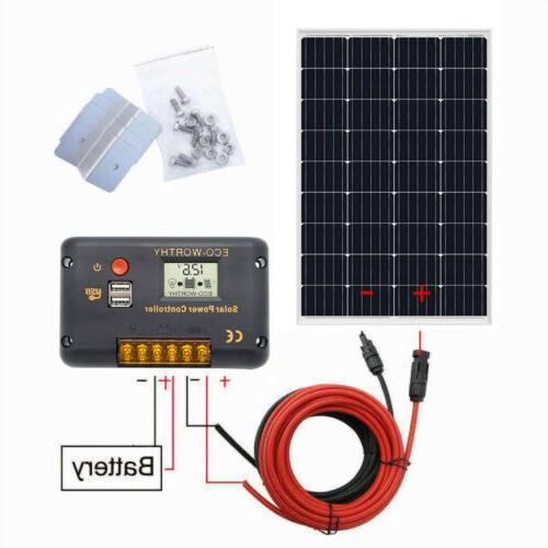 120W Watt Mono Solar Panel Starter Kit 20A LCD Controller Ba