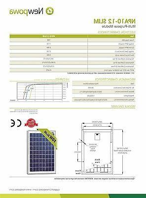 NewPowa 10W 12V Poly Solar Module Marine