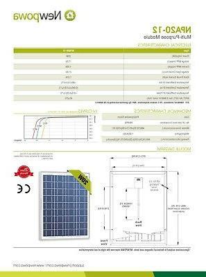 NewPowa High Watt 12V Mono Panel Module Grid