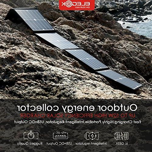 ELEGEEK 50W Panel Charger for Zero Power Station Efficiency Solar USB Power Bank
