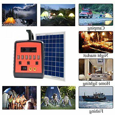 Emergency Solar Generator Lighting System Kit with Solar Panel Lamps