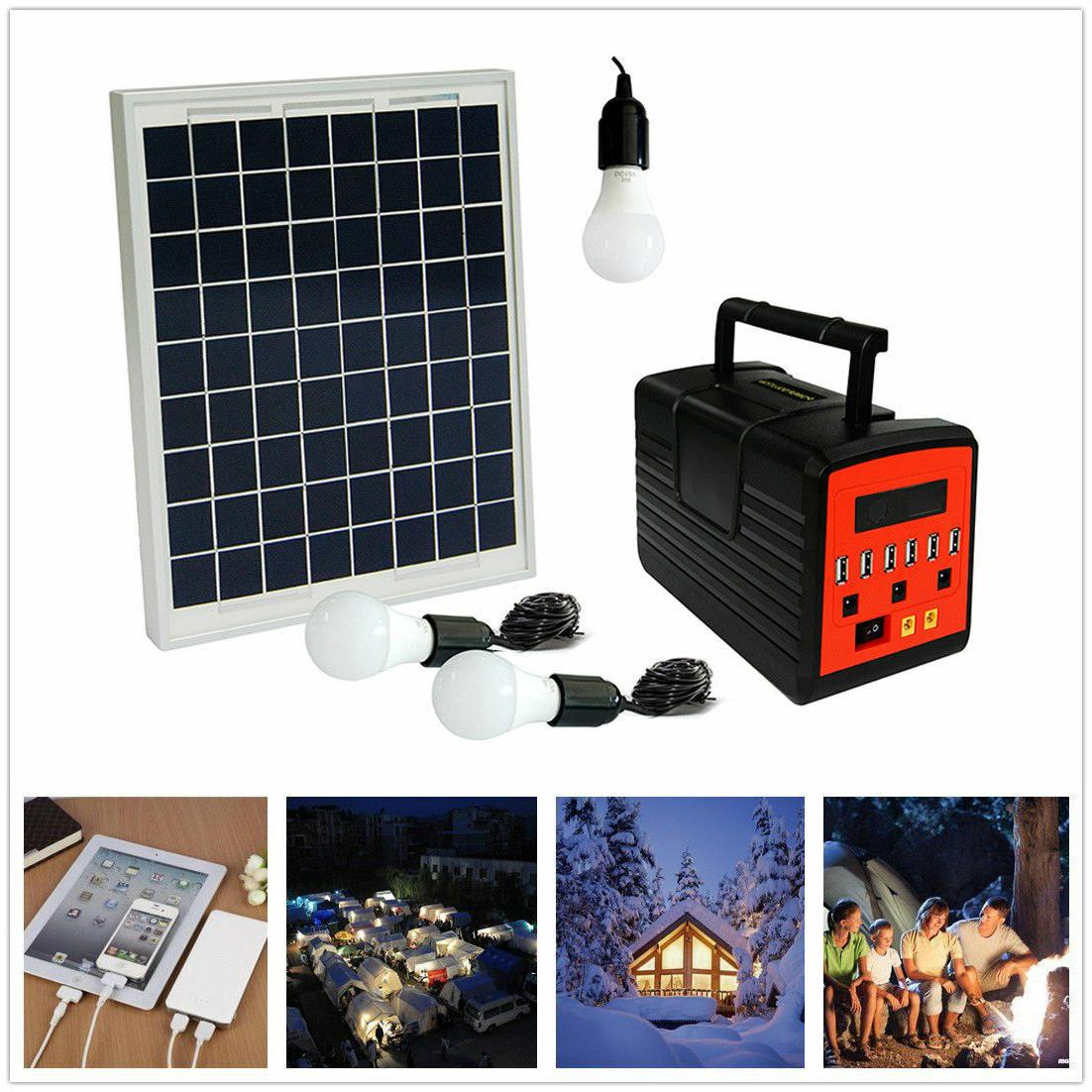Solar System with Panel USB Lamps