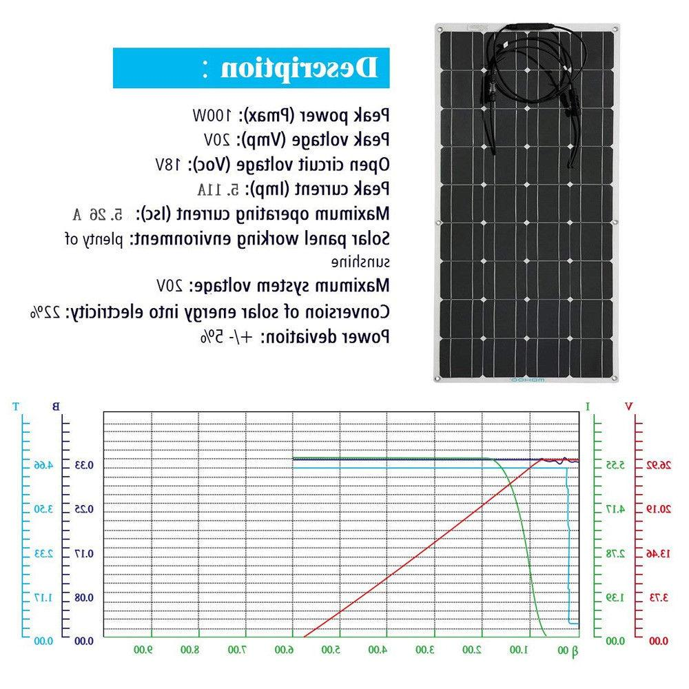 Mono 100W Solar Panel Off High Efficiency RV Boat Home VP