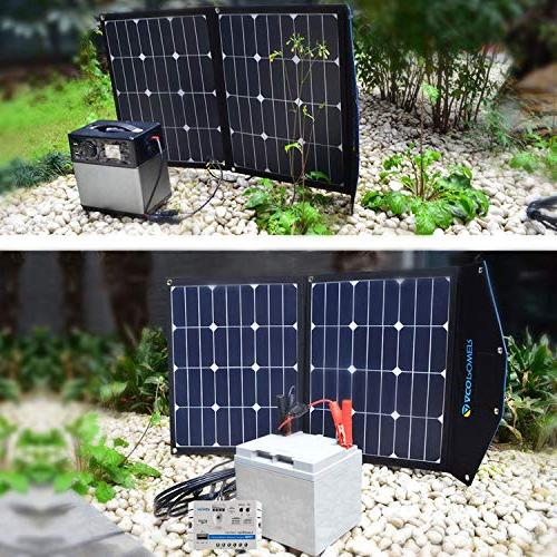 ACOPOWER Watt Foldable Solar Portable Solar 2x35W Monocrystalline Module 5A Charge Controller Boats, Camping; w 5V Output Charger