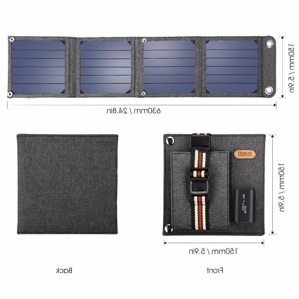 <font><b>Suaoki</b></font> 14W Sun <font><b>Solar</b></font> Charger 2.1A USB Output Portable Smartphones Laptop