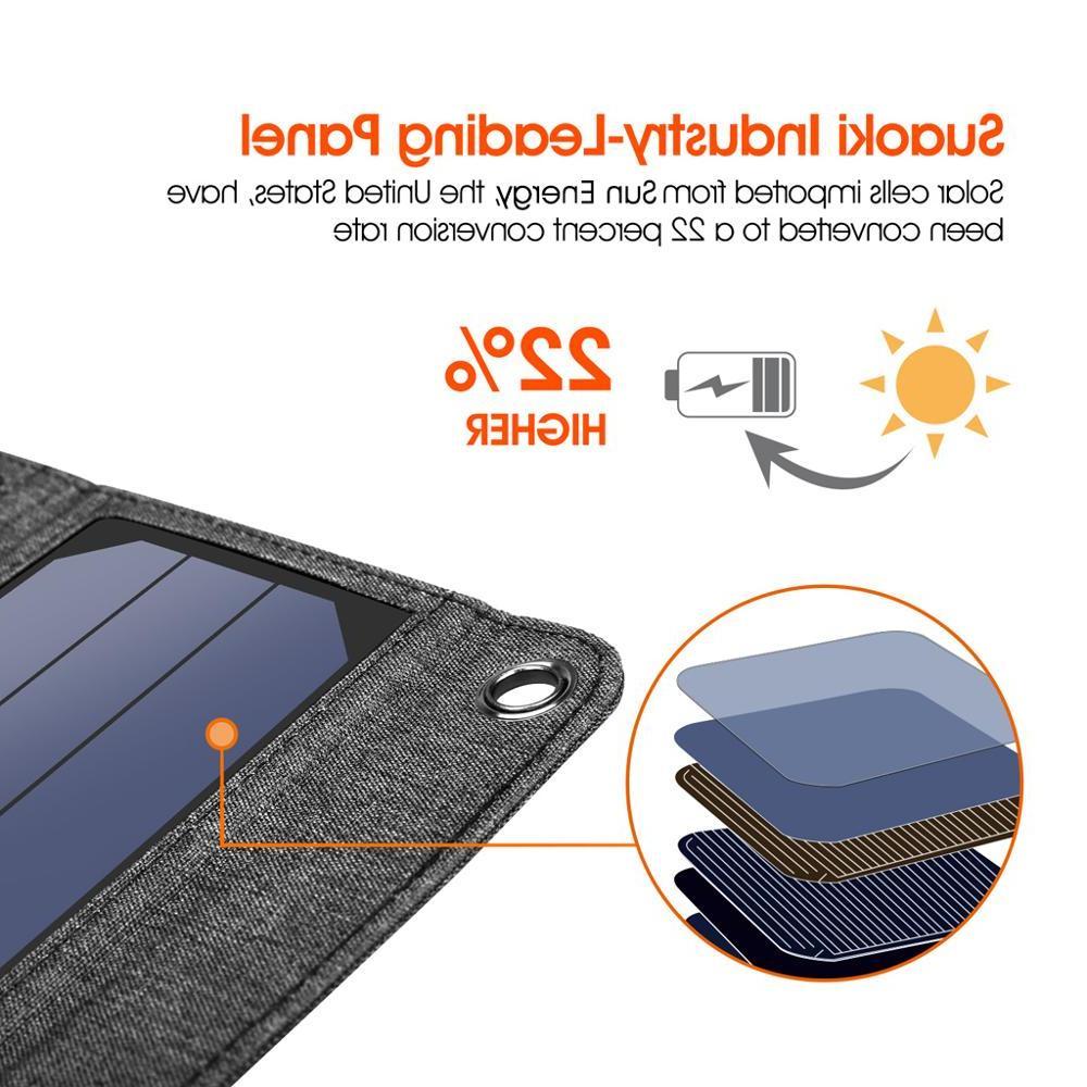 <font><b>Suaoki</b></font> <font><b>Solar</b></font> 2.1A Portable <font><b>Solar</b></font> <font><b>Panels</b></font> Smartphones Laptop