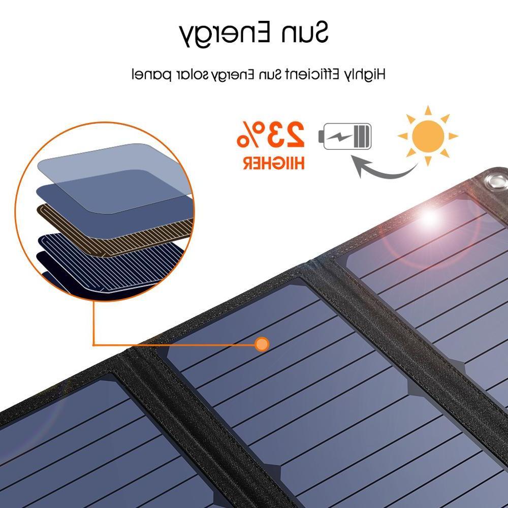 <font><b>SUAOKI</b></font> 28W <font><b>Solar</b></font> Cells Charger Light QC 3.0 3 3.1A Output Port for Samsung