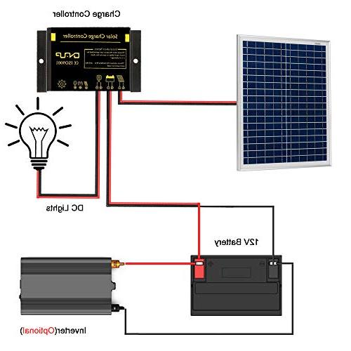 12V Off Grid Panel Kit - 30W Solar Panel Photocell 10A Solar Charge Controller Setting + Cable