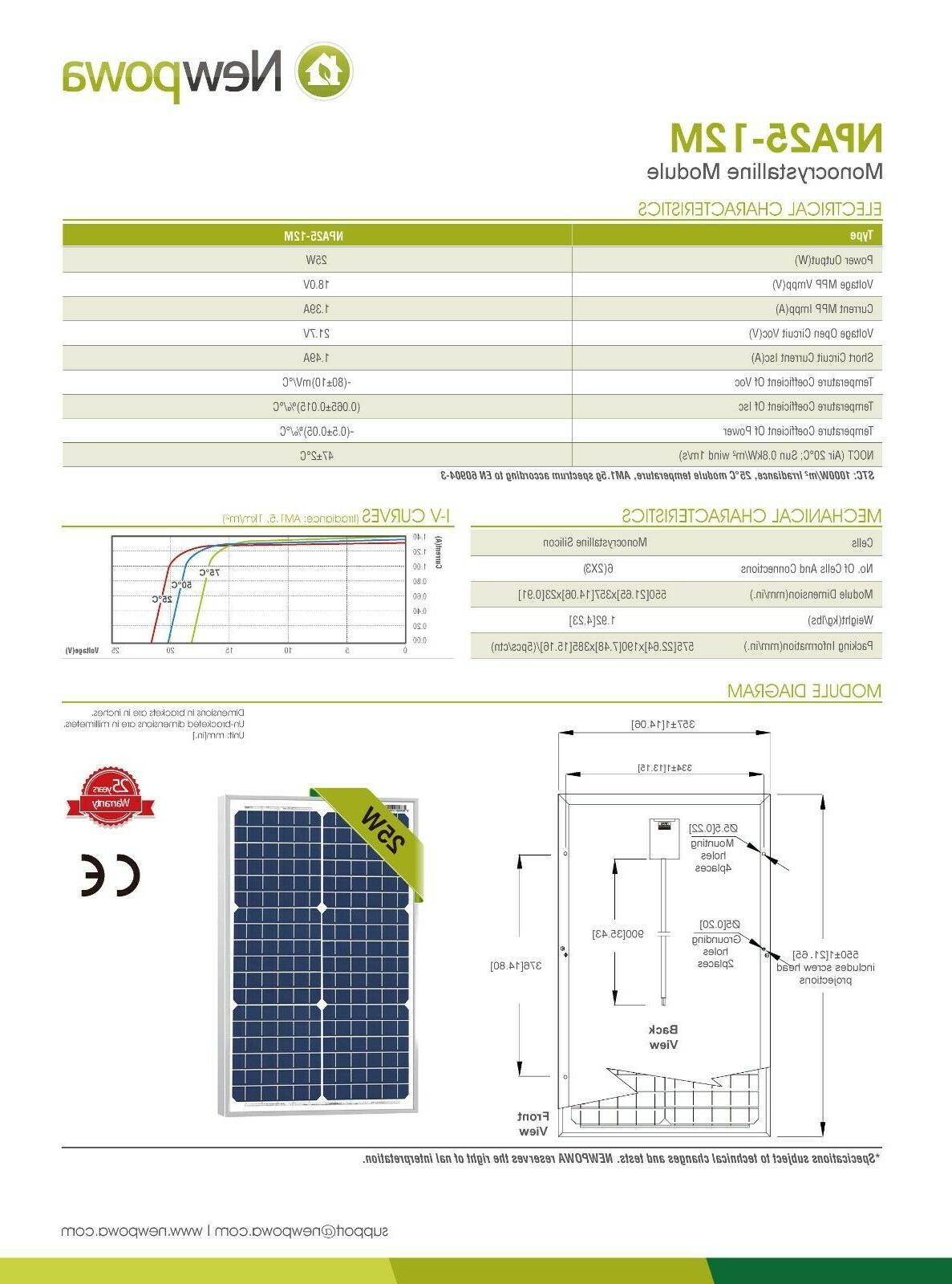NewPowa Mono 25W Watt 12V Solar Panel Effciency Module Watt