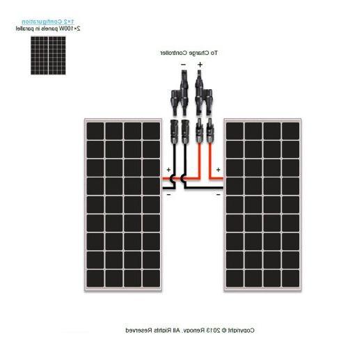 Renogy 2 Pieces 100W Monocrystalline Photovoltaic PV Panel Module, Battery Charging