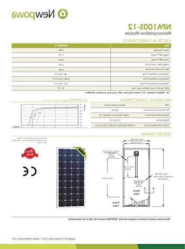 Newpowa 100 Watt 100W 12V Solar High Efficiency RV Marine Boat Off Grid