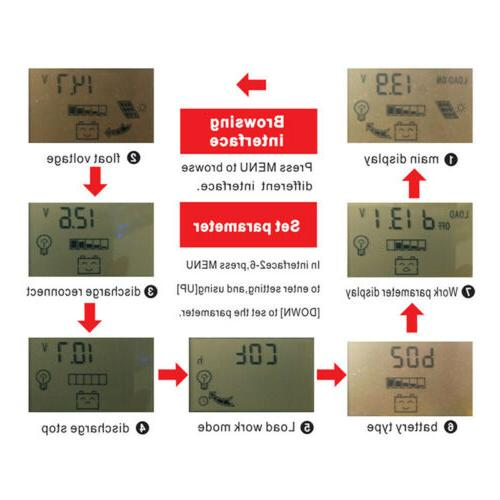 MPPT Solar Panel Battery Solar 12/24V LCD