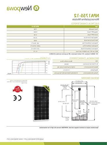Newpowa 12 Volts Watts Volts Monocrystalline Panel kit