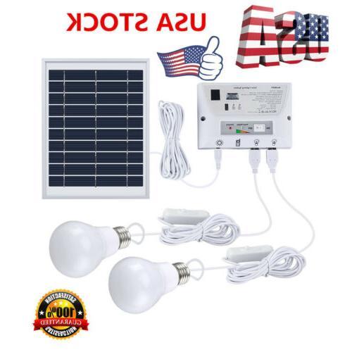 Portable 2 Outdoor Indoor Solar LED Solar Lighting System Solar Panel
