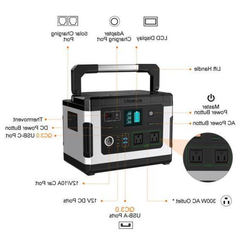 Portable 500Wh Supply Generator Storage 600W Inverter