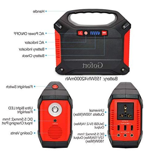 Portable Power 42000mAh Pack for Charged by Solar Panel Wall Car with 110V 3 DC 12V