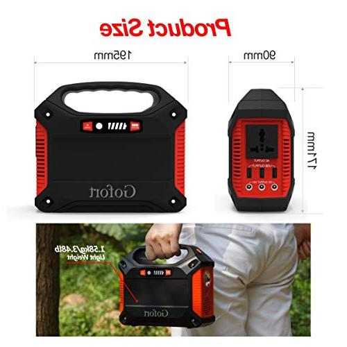 Portable Inverter 42000mAh 155Wh Pack Power for Outdoor Home Charged Wall Car 110V AC Outlet 3 DC 12V USB