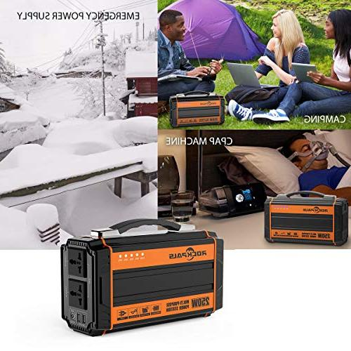 Rockpals 250-Watt Portable Rechargeable Solar AC USB Output Off-grid Supply Camping