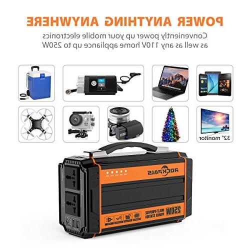 Rockpals Generator Rechargeable Battery Pack Solar Generator AC 12V USB Off-grid Supply for Camping