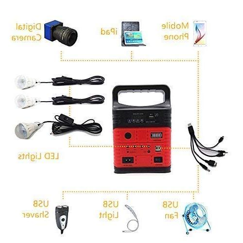 Portable with Solar LED Power Generator,Small Basic Portable Kit,Solar Lights for Home & Camping,Power for Solar