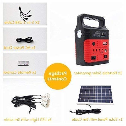 Portable Solar Solar Panel,Included 3 Sets LED lights,Solar Generator,Small Generator Kit,Solar Lights Home & for Fans