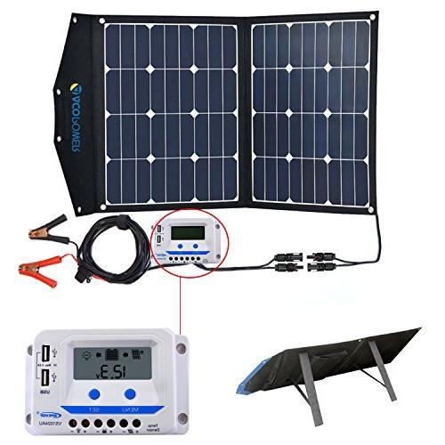 84d56ad86d1d ACOPOWER 80W Portable Solar Panel, 12V Foldable Solar