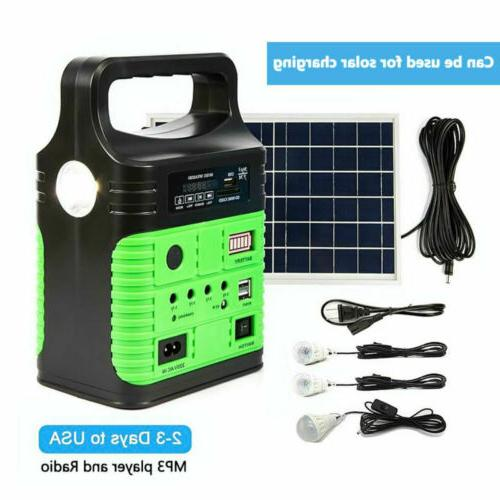Solar Panel Generator LED Light USB Charger System Back-up E