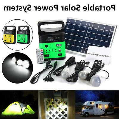 Portable Solar Panel Power Generator LED Light Bulb USB Char